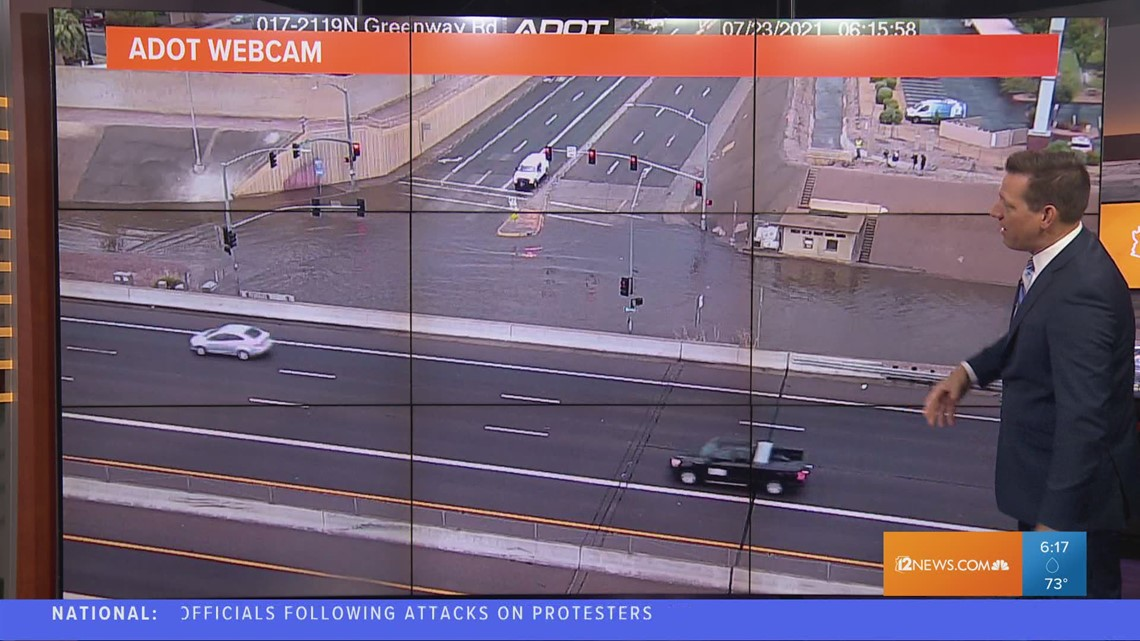 Intersection near I-17 and Greenway Road floods after storm