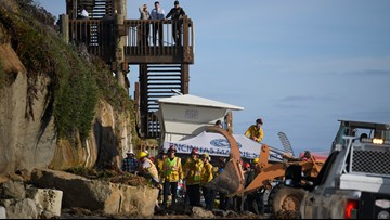 Collapsing cliff claims 3 lives along beach north of San Diego