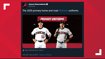 D-backs unveil a new look for their uniforms in 2020