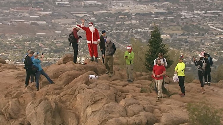 Christmas tree on Camelback Mountain thrown over a cliff