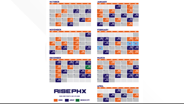 image regarding Golden State Warriors Printable Schedule called Phoenix Suns 2019-2020 agenda produced