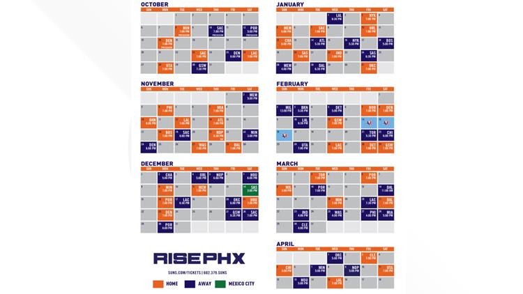 Suns 2019-2020 regular season schedule