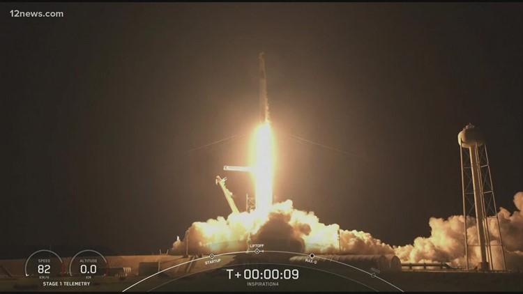 Arizona professor piloting all-civilian Space X flight blasts off