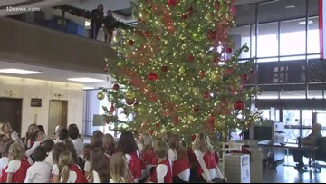 Christmas tree at Arizona State Capitol lights up