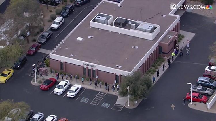 Sky 12 shows people in line for legal recreational marijuana in Arizona