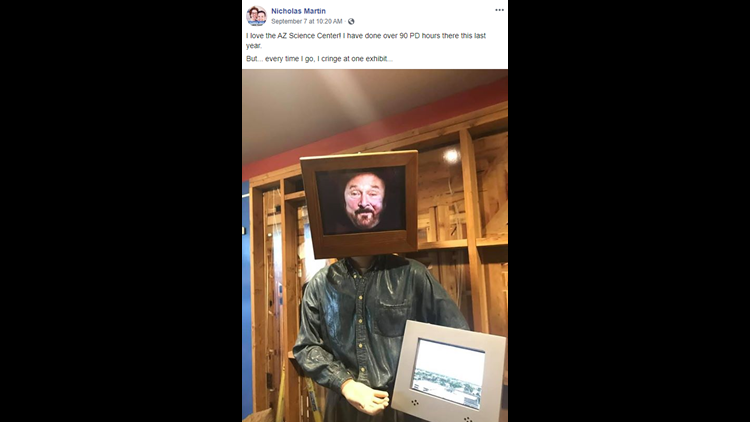 Teacher Nicholas Martin posted this image of State Rep. Jay Lawrence in a video monitor at a display at the Arizona Science Center.