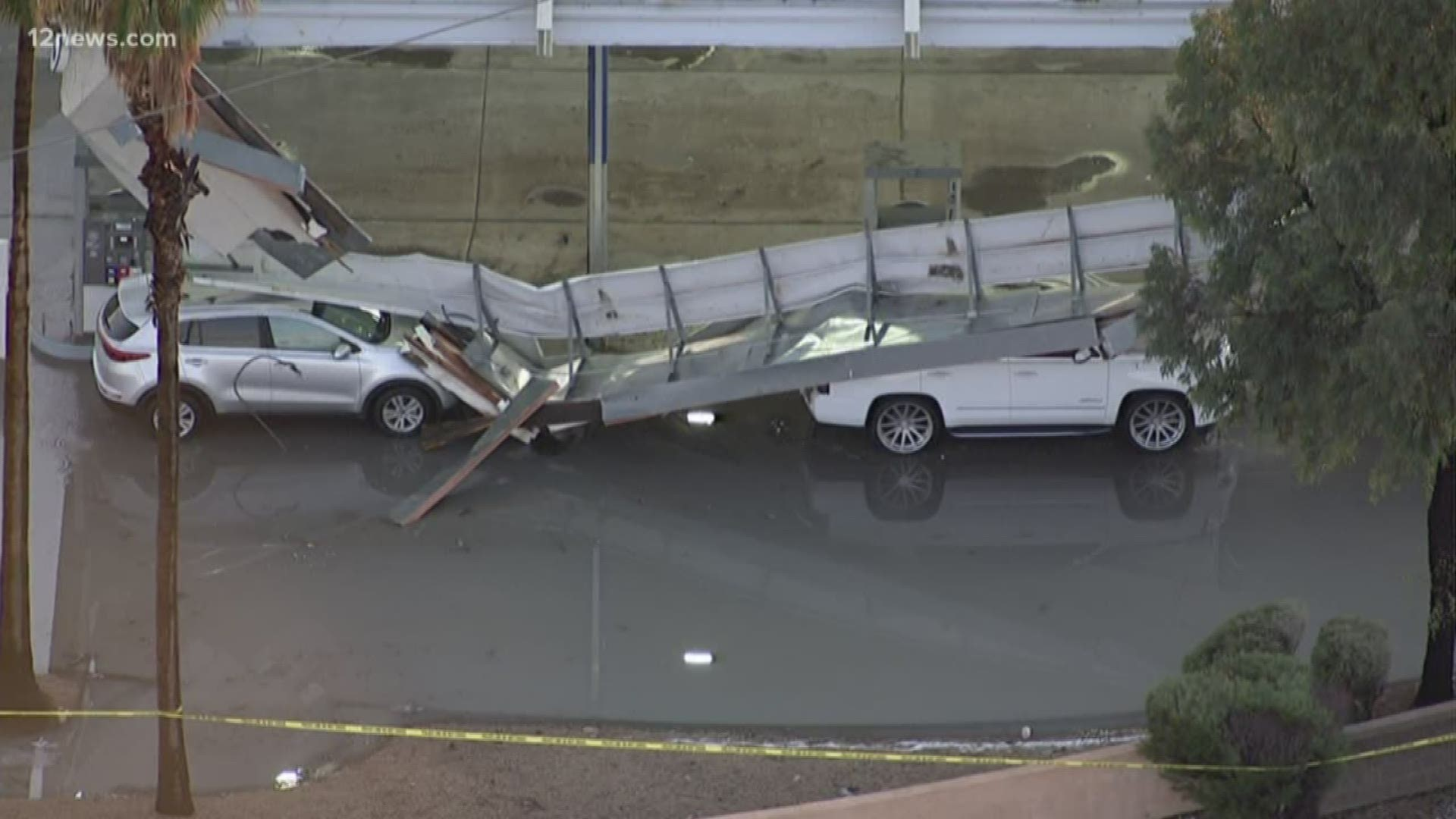 Breaking: Gas station roof collapses on cars in Glendale ...