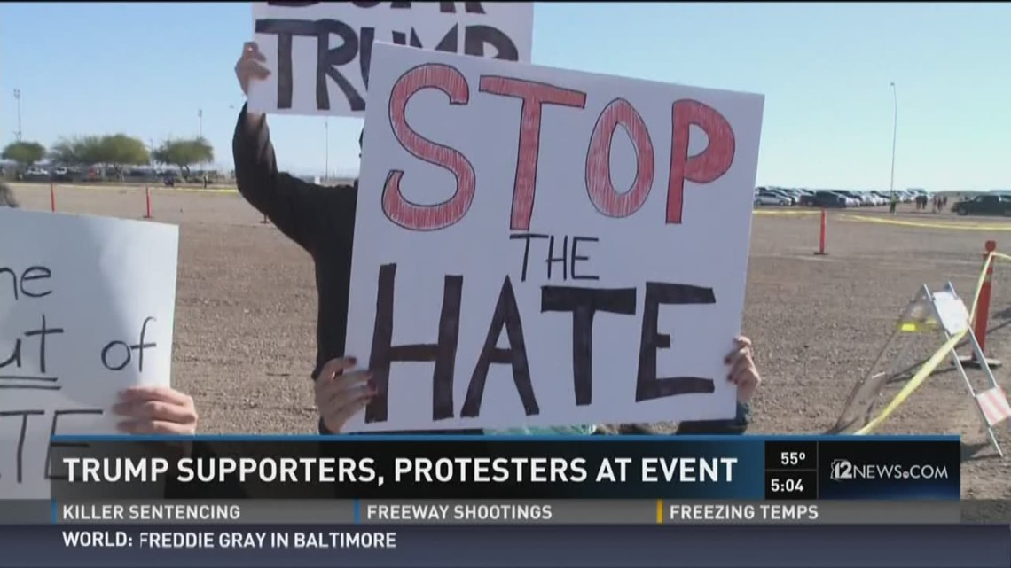 Trump Supporters Protesters At His Speaking Engagement In Mesa