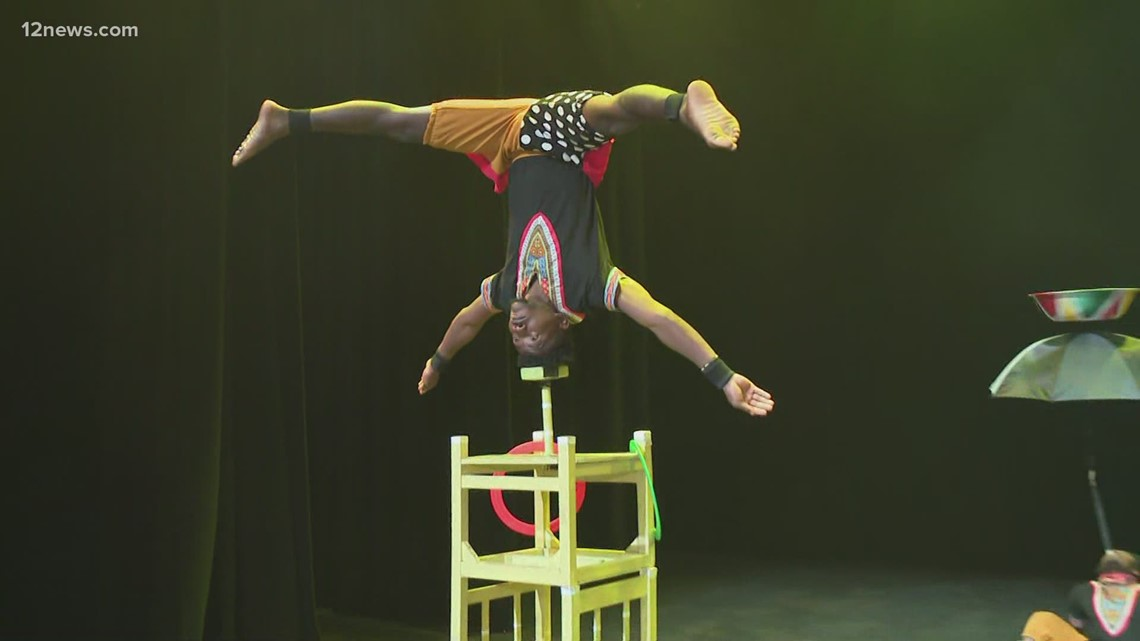 Zuzu African acrobats ready to perform on stage in Phoenix