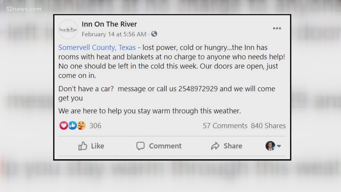 Woman who moved from Phoenix now helping out frozen Texans