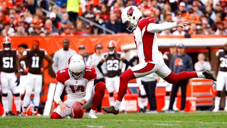 Matt Prater, pateador de los Cardinals, fue nombrado Jugador de la Semana de Equipos Especiales de la NFC después de una gran victoria en Cleveland