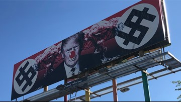 Video shows man adding red nose to controversial anti-Trump billboard in Phoenix