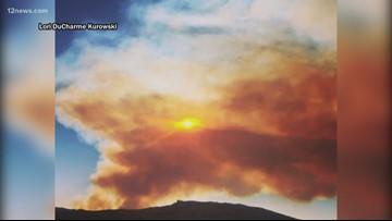 Lightning-caused wildfire burning south of Prescott