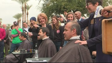 Lawmakers shave heads to push for firefighter health benefits