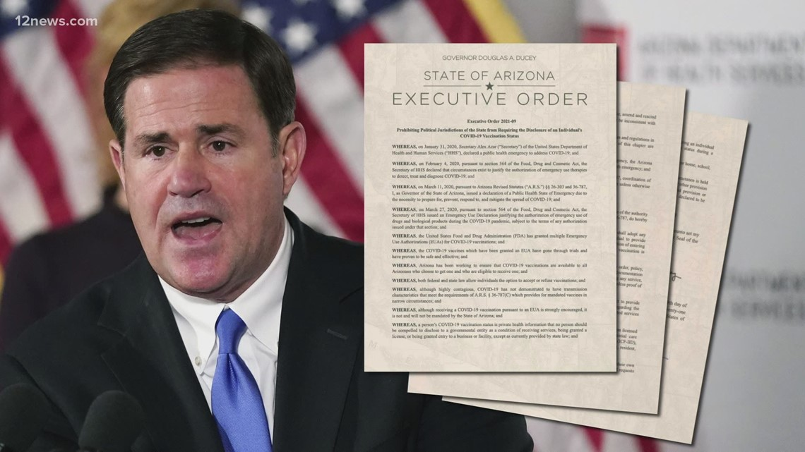 Gov. Ducey issues executive orders lifting mask mandates in schools, banning vaccine passports