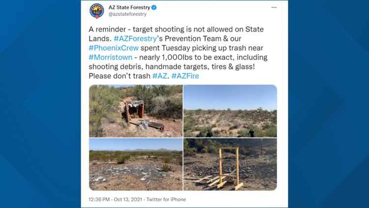AZ State Forestry spends Tuesday picking up nearly 1,000 lbs of trash