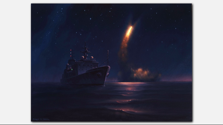 The oil on canvas painting illustrates the support ship USNS Watersobserving a missile launched from theUSS Kentucky. Combat artistMorgan Ian Wilbur recounted his experience observing the test flightNov. 7, 2015. (Photo: US Navy)