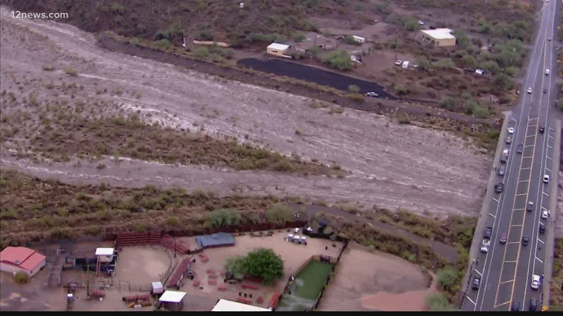 Skunk Creek Wash flowing fast after storms move through Arizona