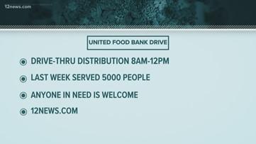 United Food Bank holding drive-thru food drive in Mesa