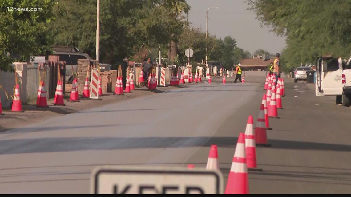 Cool seal pavement installed in Phoenix to help reduce heat island effect