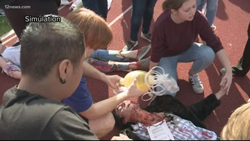 Mock plane crash helps high school students train for medical careers