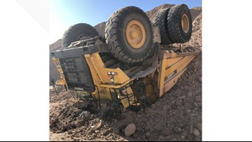 Construction worker has life-threatening injuries after dump truck turns over