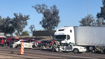 Multi-vehicle crash closes I-10 eastbound at 91st Avenue for hours
