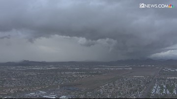 Sky 12 captures ominous storm clouds moving into the Valley