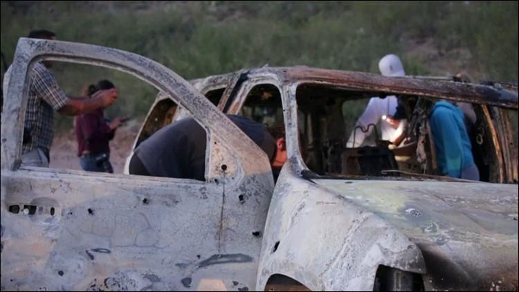 burned car in mexico ambush