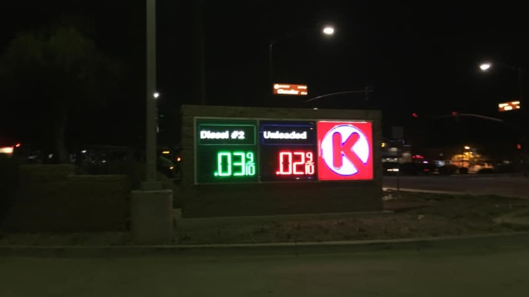 Glitch in the gas tank? Drivers shocked to see 2 cent gas at Chandler Circle K