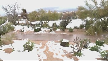 Snow continues to stick in Scottsdale