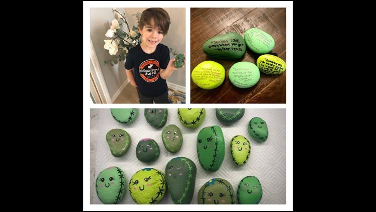 Boy pains 'kindness rocks' for walks