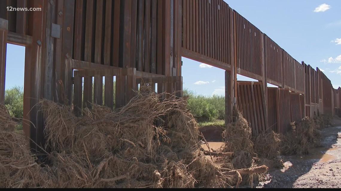 Parts of Arizona's newly built border wall damaged by monsoon storms