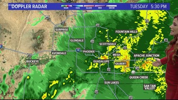 Rainy weather moving across Arizona