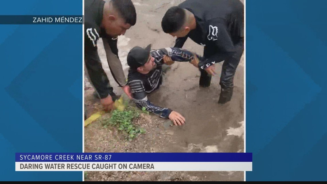 Caught on Camera: Good Samaritans rescue family from rushing Arizona floodwaters