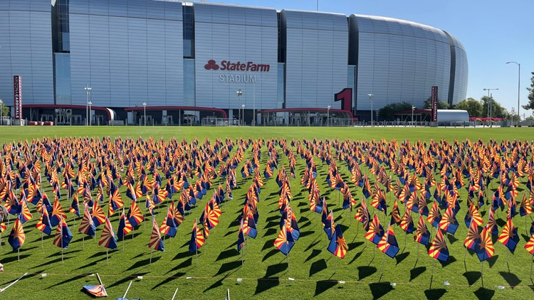 17,000 flags on display at State Farm Stadium to honor COVID-19 victims