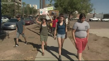Hundreds march in downtown Phoenix for climate change protest