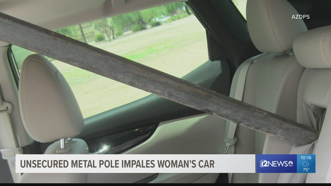 Phoenix driver uninjured after car impaled by large metal piece