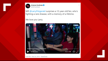 Larry Fitzgerald plays video games with young fan battling rare disease