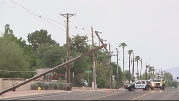 Power pole down in East Mesa