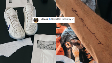 Devin Booker gets tattoo from message Kobe Bryant wrote him on autographed shoes
