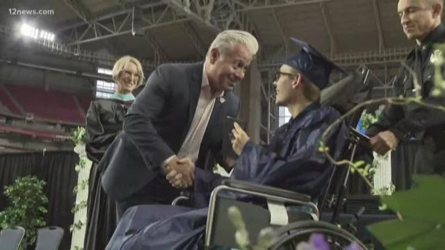 f7857b48c5a Peoria teen graduates a week after losing part of his leg in motorcycle  wreck