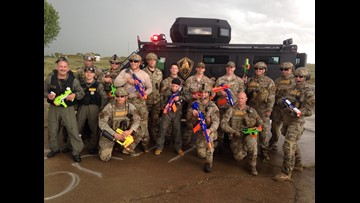 Boy, 11, has an epic Nerf battle with SWAT
