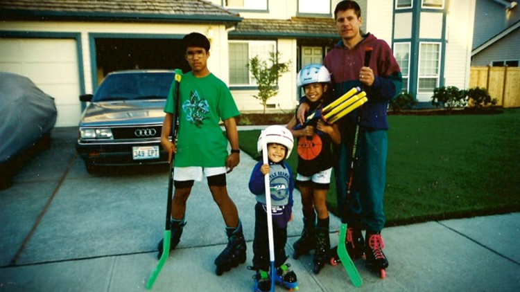 JR Celski's mom says the world record holder became hooked on skating after his dad took JR and his older brothers skating one day. In this family photo JR is wearing his first pair of skates, from playschool.