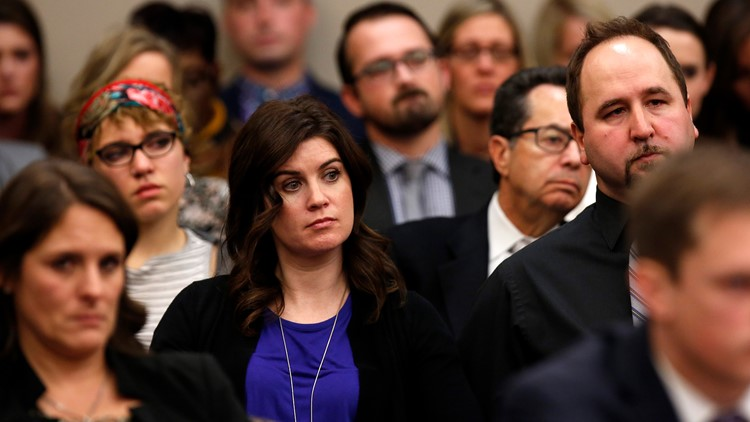 Larissa Boyce, a former gymnast sexually abused by Larry Nassar, the former physician for the U.S. womens gymnastics team attends a hearing of Nassar's trial in Ingham County Circuit Court on November 22, 2017 in Lansing, Michigan.