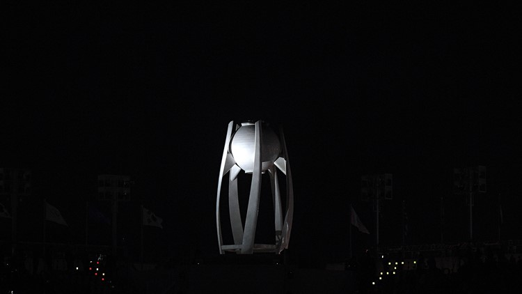 The Olympic flame is extinguished near the conclusion of the Closing Ceremony of the PyeongChang 2018 Winter Olympic Games at PyeongChang Olympic Stadium on February 25, 2018 in Pyeongchang-gun, South Korea.