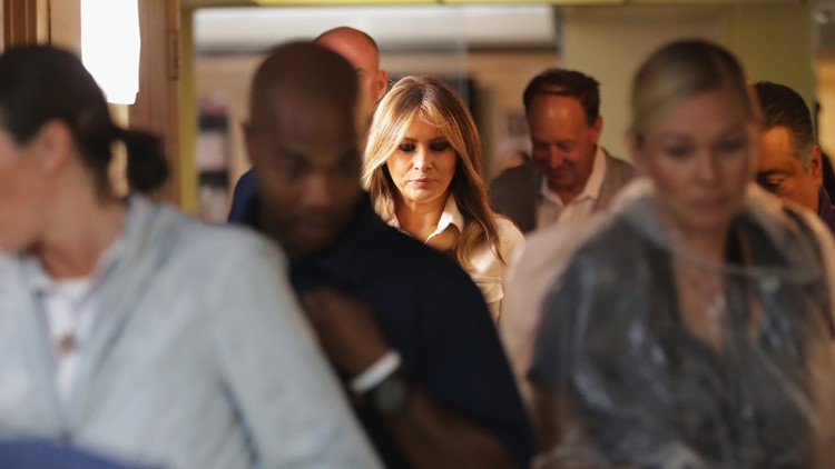 U.S. first lady Melania Trump arrives for a discussion with doctors and social workers at the Upbring New Hope Childrens Center  June 21, 2018 in McAllen, Texas.