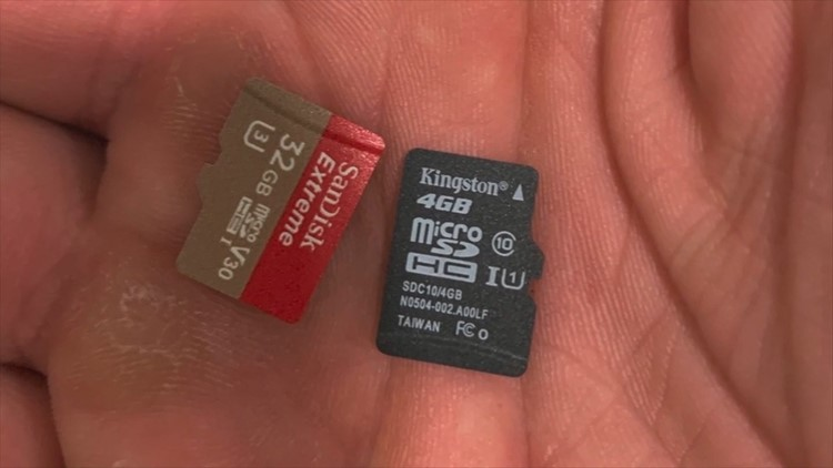 Memory cards that Max Vest ejected from two cameras in his Airbnb rental.