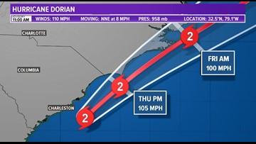 Hurricane Dorian's eyewall less than 600 miles from Florida