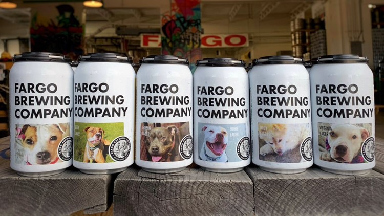 Fargo Brewing Company adoption dog labels